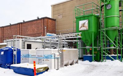 Current setting of HySTOC's key technical systems at Espoo, with Hydrogenious LOHC' ReleaseBox to be operated by research institute VTT in order to analyse the quality of the re-released hydrogen and Woikoski's assisting operational system (here: LOHC pumps) © VTT