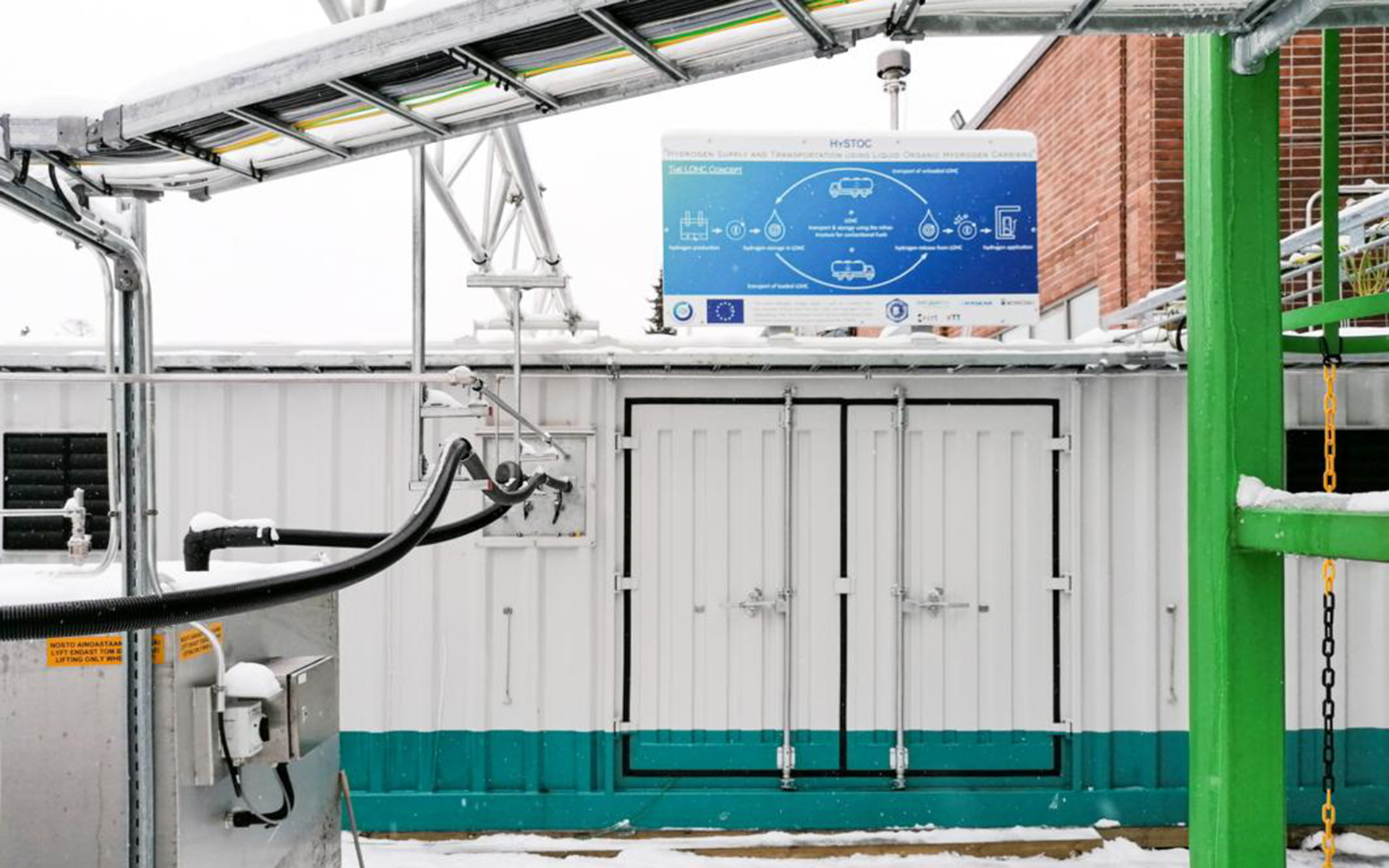 (2) ReleaseBox of Hydrogenious LOHC Technologies has started operation without any problems at local double-digit sub-zero temperatures within the HySTOC project in Finland, © Hydrogenious LOHC Technologies